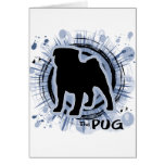 The Pug - blue Greeting Cards