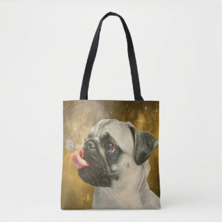 The Pug, The Butterfly and The Universe Tote Bag