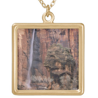 The Pulpit and ephemeral waterfall 2 Square Pendant Necklace