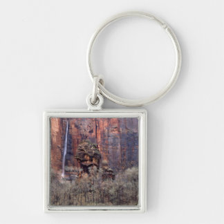 The Pulpit and ephemeral waterfall Silver-Colored Square Keychain