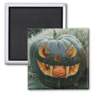 The pumpkin with the garden - 2 inch square magnet