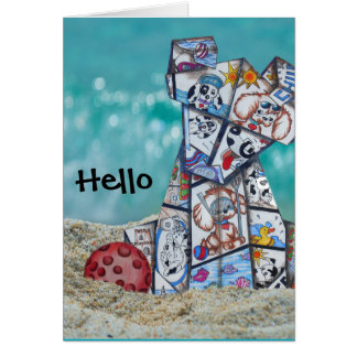 the puppy wants to play on the beach greeting card
