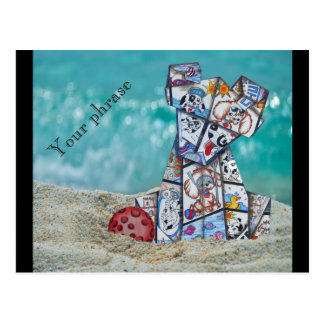 the puppy wants to play on the beach greeting card post card