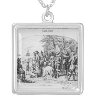 The Purchase of Manhattan Island, September 1626 Silver Plated Necklace