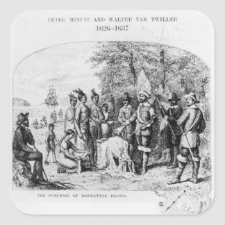 The Purchase of Manhattan Island, September 1626 Square Sticker