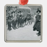 The Puritan Governor Square Metal Christmas Ornament