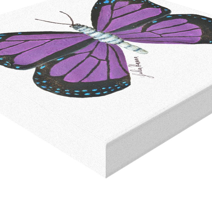 The Purple Blue And Black Butterfly By Julia Hanna Canvas Print