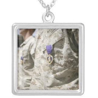 The Purple Heart Award 2 Square Pendant Necklace