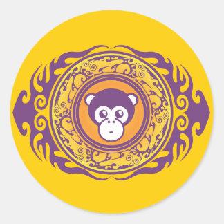 The Purple Monkey Round Stickers
