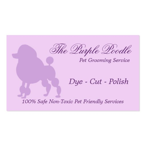 The purple poodle pet grooming business card zazzle for Grooming business cards