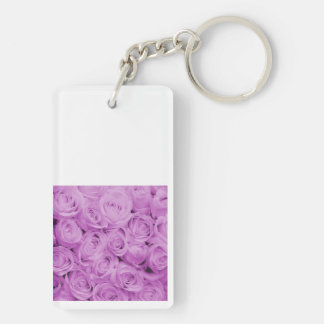 The purple rose experience rectangle acrylic key chain