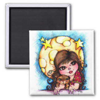 The Purr-Fect Moon and Big Eye Girl 2 Inch Square Magnet