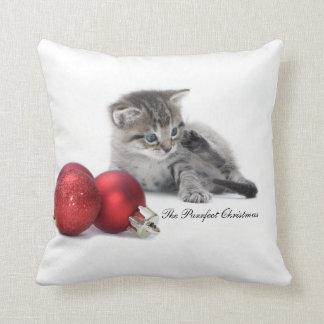 The Purrfect Christmas kitten cushion Pillow