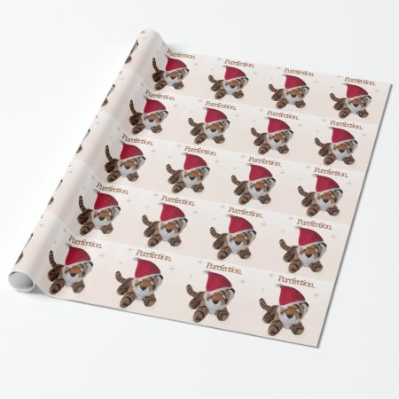 The Purrfect Christmas - Tiger In Santa Hat Wrapping Paper