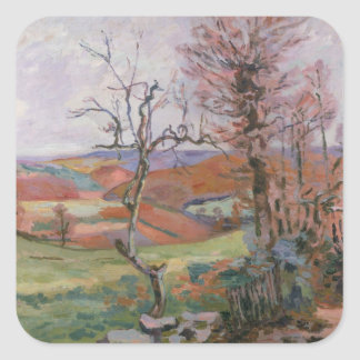 The Puy Barion at Crozant, Brittany (oil on canvas Square Sticker