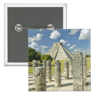 The Pyramid of Kukulkan 2 Inch Square Button