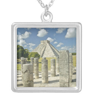 The Pyramid of Kukulkan Silver Plated Necklace