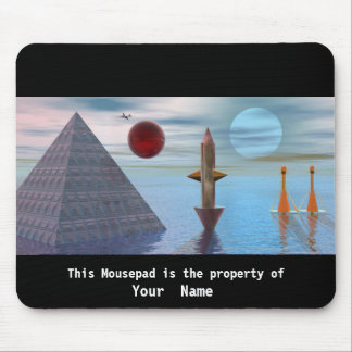 The Pyramid the Plane3 and the Moon Mousepad Mouse Pads