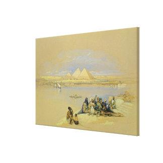 The Pyramids at Giza, near Cairo (w/c) Canvas Print