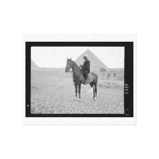 The Pyramids of Giza with Horseman circa 1934 Gallery Wrap Canvas
