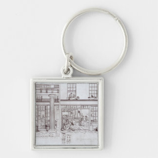 The Quadrant, Regent Street and Golden Lane Silver-Colored Square Keychain