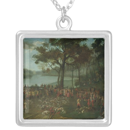 The Quarry at the Etangs de Commelles in 1771 Silver Plated Necklace