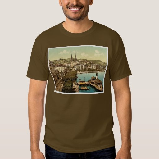 The quay, Hotels Schweizerhof and National and Cat Tee Shirt