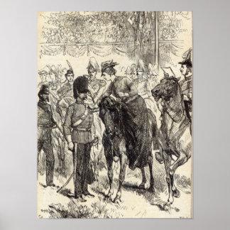 The Queen distributing Victoria Crosses Poster