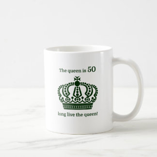The queen is 50 long live the queen! coffee mug