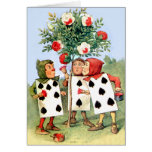 The Queen of Hearts' Cardmen Paint Her Roses Greeting Card