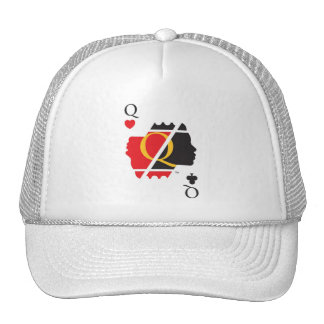 The Queen Of Hearts Club White Base Ball Cap Trucker Hat