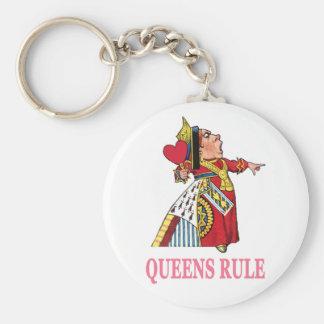 """The Queen of Hearts declares, """"Queens Rule!"""" Keychain"""