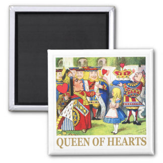 The Queen of Hearts in Wonderland 2 Inch Square Magnet