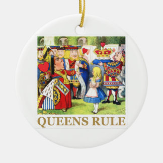 "The Queen of Hearts Says , ""Queens Rule!"" Double-Sided Ceramic Round Christmas Ornament"