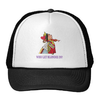 THE QUEEN OF HEARTS SAYS WHO LET BLONDIE IN_PURPLE TRUCKER HAT