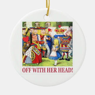 "The Queen of Hearts Shouts ""Off With Her Head! "" Double-Sided Ceramic Round Christmas Ornament"