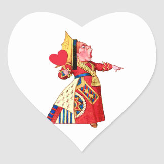 "The Queen of Hearts Shouts, ""Off With Her Head!"" Heart Sticker"