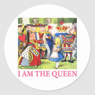 "The Queen of Hearts Tells Alice, ""I Am the Queen!"" Classic Round Sticker"