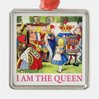 "The Queen of Hearts Tells Alice, ""I Am the Queen!"" Metal Ornament"