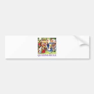 "The Queen of Hearts tells Alice, ""Queens Rule!"" Car Bumper Sticker"