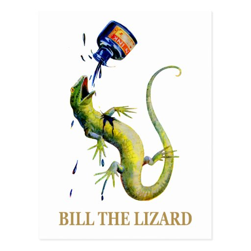 THE QUEEN OF HEARTS THROWS INK AT BILL THE LIZARD POSTCARDS