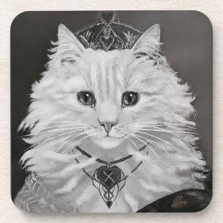 The Queen of Hearts - Vintage Cat Art Beverage Coaster