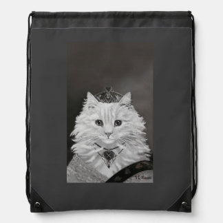 The Queen of Hearts - Vintage Cat Art Drawstring Backpacks