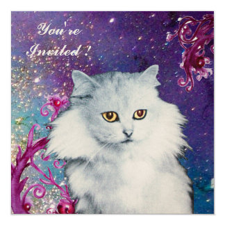 THE QUEEN OF WHITE CATS 5.25X5.25 SQUARE PAPER INVITATION CARD