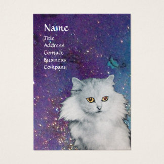 THE QUEEN OF WHITE CATS, MONOGRAM Blue pearl paper Business Card