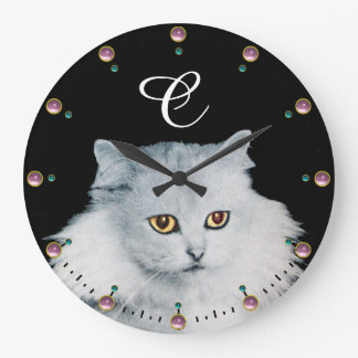 THE QUEEN OF WHITE CATS MONOGRAM ,Pink Gemstones Large Clock