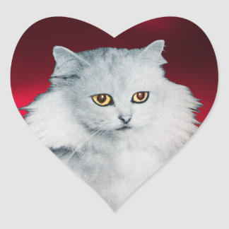 THE QUEEN OF WHITE CATS, Red Heart Heart Sticker