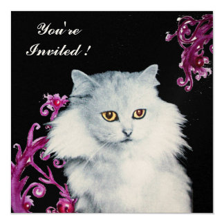 THE QUEEN OF WHITE CATS ,Red Ruby,Black 5.25x5.25 Square Paper Invitation Card