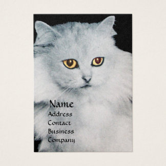 THE QUEEN OF WHITE CATS,white pearl paper Business Card