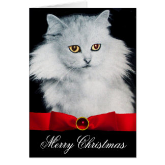 THE QUEEN OF WHITE CATS WTH RED RIBBON CARD